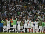 Algeria's players celebrate after the Group H football match between South Korea and Algeria at the Beira-Rio Stadium in Porto Alegre during the 2014 FIFA World Cup on June 22, 2014