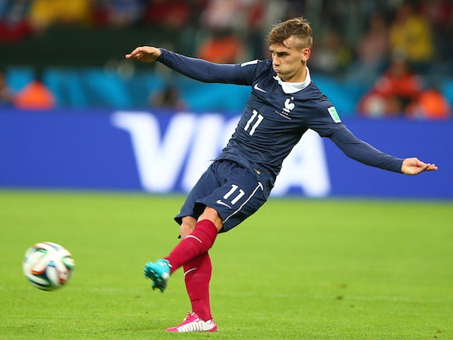 Antoine Griezmann of France kicks the ball during the 2014 FIFA World Cup Brazil Group E match between France and Honduras at Estadio Beira-Rio on June 15, 2014