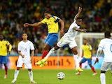 Antonio Valencia of Ecuador competes for the ball with Maynor Figueroa of Honduras during the 2014 FIFA World Cup Brazil Group E match on June 20, 2014