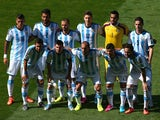 Argentina players pose for a team photo before the 2014 FIFA World Cup Brazil Group F match between Argentina and Iran at Estadio Mineirao on June 21, 2014