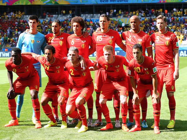 Belgium players pose for a team photo before the 2014 FIFA World Cup Brazil Group H match between Belgium and Algeria at Estadio Mineirao on June 17, 2014