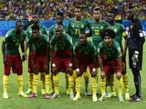 Cameroon's team lineup before a game with Croatia on June 19, 2014