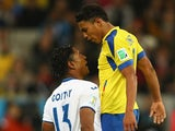 Carlo Costly of Honduras clashes with Jefferson Montero of Ecuador during the 2014 FIFA World Cup Brazil Group E match on June 20, 2014