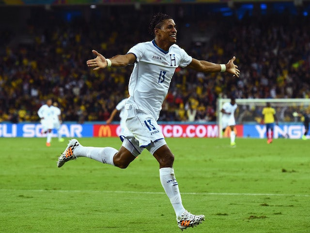 Carlo Costly of Honduras celebrates scoring his team's first goal during the 2014 FIFA World Cup Brazil Group E match against Ecuador on June 20, 2014