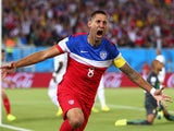 Clint Dempsey celebrates scoring for the USA in the first minute of their encounter with Ghana on June 16, 2014.