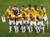 Colombia pose for a team photo prior to the 2014 FIFA World Cup Brazil Group C match between Colombia and Cote D'Ivoire at Estadio Nacional on June 19, 2014