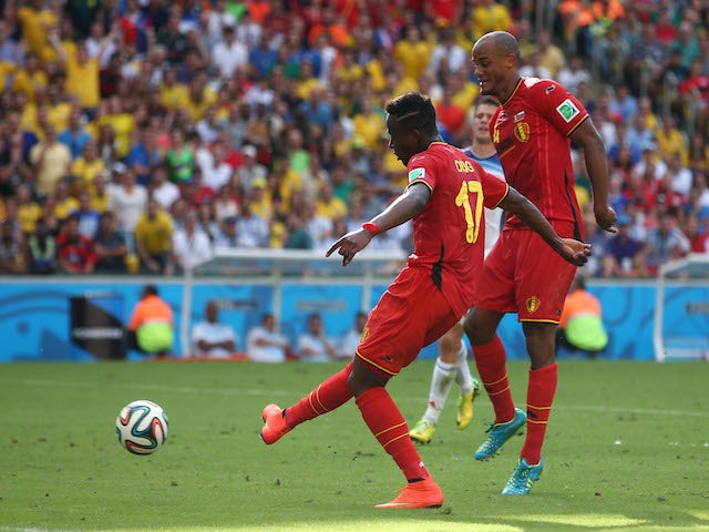 Divock Origi of Belgium scores his team's first goal during the 2014 FIFA World Cup Brazil Group H match between Belgium and Russia at Maracana on June 22, 2014