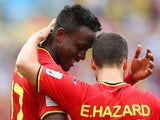Divock Origi of Belgium celebrates scoring his team's first goal with Eden Hazard during the 2014 FIFA World Cup Brazil Group H match on June 22, 2014