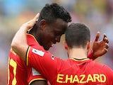 Divock Origi of Belgium celebrates scoring his team's first goal with Eden Hazard during the 2014 FIFA World Cup Brazil Group H match on June 22, 2014