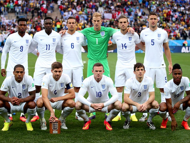 England pose for a team photo prior to the 2014 FIFA World Cup Brazil Group D match between Uruguay and England at Arena de Sao Paulo on June 19, 2014