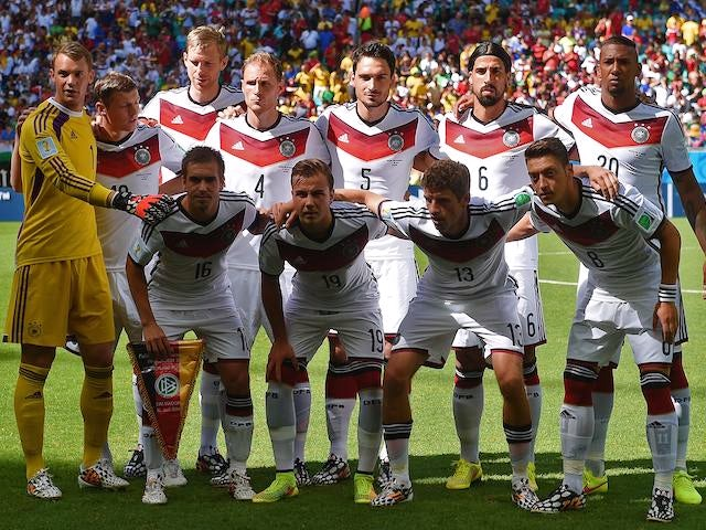 The Germany team to face Portugal in the World Cup on June 16, 2014.