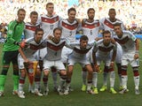 Members of the Germany's national team pose prior to a Group G football match between Germany and Ghana at the Castelao Stadium in Fortaleza during the 2014 FIFA World Cup on June 21, 2014