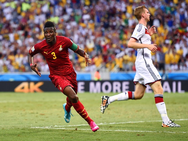 Asamoah Gyan of Ghana celebrates scoring his team's second goal during the 2014 FIFA World Cup Brazil Group G match between Germany and Ghana at Castelao on June 21, 2014