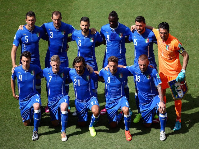 Italy pose for a team photo prior to the 2014 FIFA World Cup Brazil Group D match between Italy and Costa Rica at Arena Pernambuco on June 20, 2014