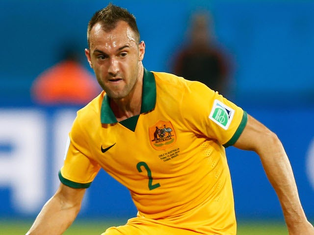 Ivan Franjic of Australia in action during the 2014 FIFA World Cup Brazil Group B match between Chile and Australia at Arena Pantanal on June 13, 2014
