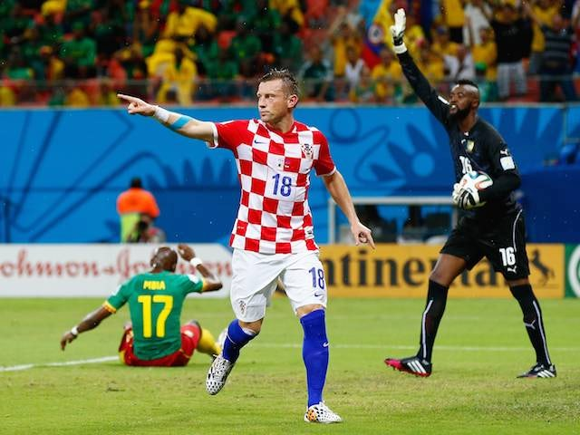 Ivica Olic celebrates scoring Croatia's first goal against Cameroon on June 18, 2014.