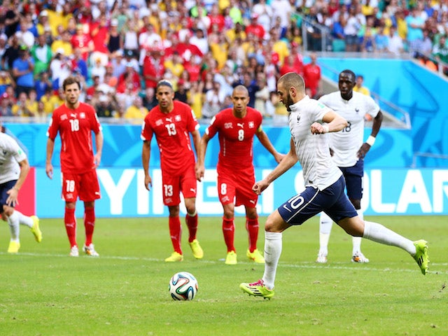 Karim Benzema of France has his penalty kick saved during the 2014 FIFA World Cup Brazil Group E match between Switzerland and France at Arena Fonte Nova on June 20, 2014
