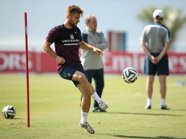 Luke Shaw during an England training session on June 16, 2014.