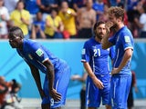 Mario Balotelli, Andrea Pirlo and Claudio Marchisio of Italy look on during the 2014 FIFA World Cup Brazil Group D match against Costa Rica on June 20, 2014
