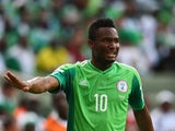 John Obi Mikel of Nigeria gestures during the 2014 FIFA World Cup Brazil Group F match between Iran and Nigeria at Arena da Baixada on June 16, 2014