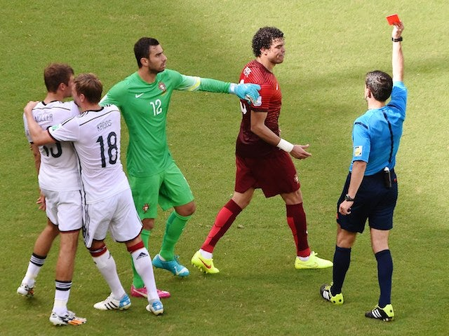 Portugal defender Pepe is sent off during their World Cup Group G match against Germany in Salvador on June 16, 2014