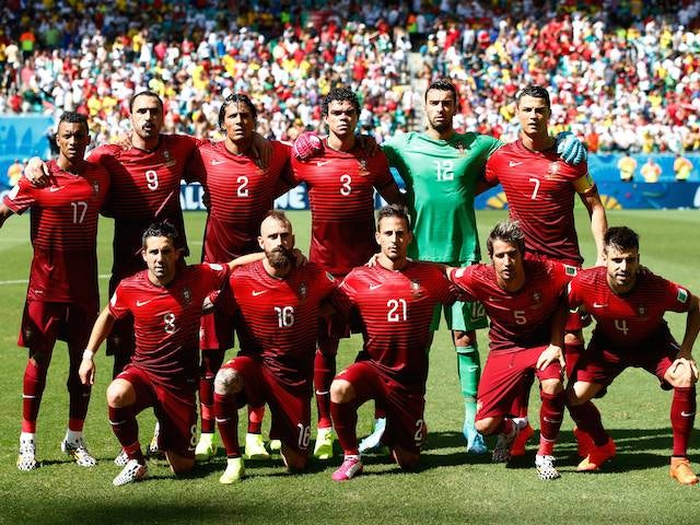The Portugal team to face Germany in the World Cup on June 16, 2014.