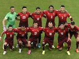 Portugal players pose before a Group G football match between USA and Portugal at the Amazonia Arena in Manaus during the 2014 FIFA World Cup on June 22, 2014
