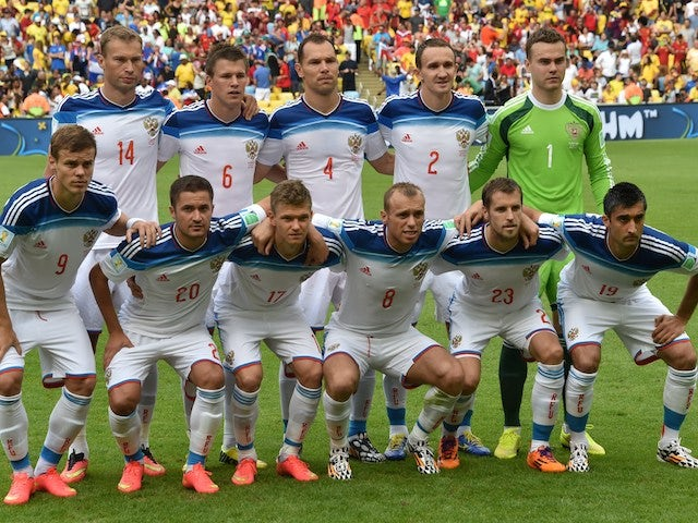 Russia's team lineup before the game with Belgium on June 22, 2014