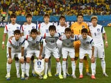 Members of the South Korean national team pose prior to a Group H football match between Russia and South Korea in the Pantanal Arena in Cuiaba during the 2014 FIFA World Cup on June 17, 2014