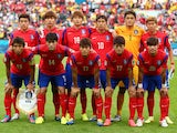 South Korea post for a team photo prior to the 2014 FIFA World Cup Brazil Group H match between South Korea and Algeria at Estadio Beira-Rio on June 22, 2014