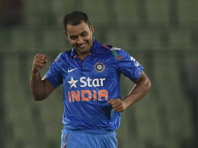Indian cricketer Stuart Binny reacts after the dismissal of Bangladeshi cricketer Al-Amin Hossain during the second One Day International (ODI) cricket match between India and Bangladesh at the Sher-e-Bangla National Cricket Stadium in Dhaka on June 17, 2