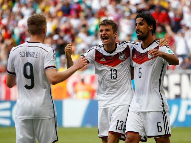 Thomas Mueller celebrates scoring his hattrick for Germany in their World Cup opening game against Portugal on June 16, 2014.