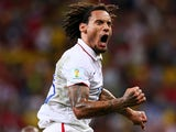 Jermaine Jones of the United States celebrates after scoring his team's first goal during the 2014 FIFA World Cup Brazil Group G match between the United States and Portugal at Arena Amazonia on June 22, 2014