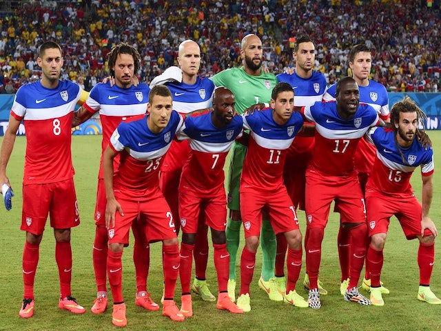 The USA team lineup before their game with Ghana on June 17, 2014