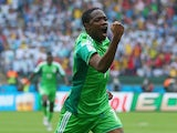Ahmed Musa of Nigeria celebrates scoring his team's first goal during the 2014 FIFA World Cup Brazil Group F match against Argentina on June 25, 2014