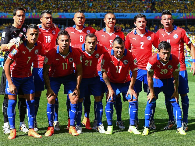 Chile's starting 11 before the game with Brazil on June 28, 2014