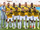 Colombia players pose for a team photo prior to the 2014 FIFA World Cup Brazil Group C match between Japan and Colombia at Arena Pantanal on June 24, 2014