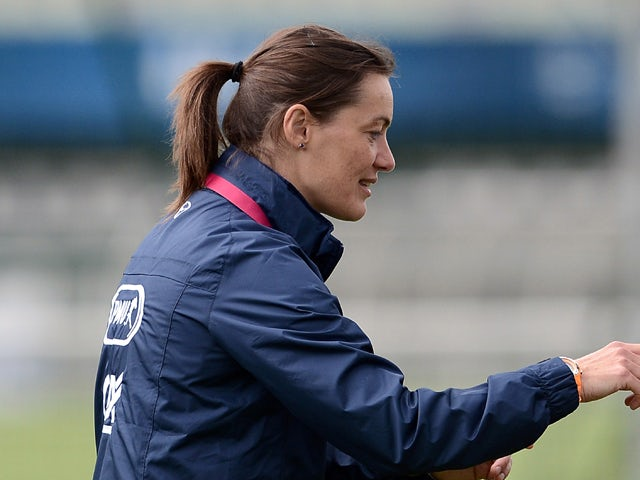 French women's national football team assistant coach Corinne Diacre during a training session on June 25, 2013