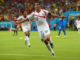 Bryan Ruiz of Costa Rica celebrates scoring his team's first goal during the 2014 FIFA World Cup Brazil Round of 16 match between Costa Rica and Greece at Arena Pernambuco on June 29, 2014