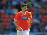 Blackpool player Craig Cathcart in action during the pre season friendly match between Blackpool and Newcastle United at Bloomfield Road on July 28, 2013