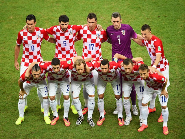 Croatia players pose for a team photo prior to the 2014 FIFA World Cup Brazil Group A match between Croatia and Mexico at Arena Pernambuco on June 23, 2014