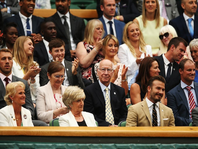 David Beckham, Sir Bobby Charlton, Andrew Strauss, Matthew Fitzpatrick, Chris Robshaw, Anthony Joshua and David Haye are amongst those pictured in the royal box on centre court on day six of the Wimbledon Lawn Tennis Championships on June 28, 2014