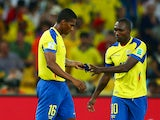 Antonio Valencia of Ecuador hands the captain's armband to Walter Ayovi after being sent off with a red card during the 2014 FIFA World Cup Brazil Group E match between Ecuador and France at Maracana on June 25, 2014