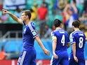 Bosnia striker Edin Dzeko celebrates after scoring the first goal against Iran during their World Cup Group F match on June 25, 2014