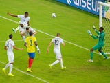 Paul Pogba of France heads the ball wide of the goal past Alexander Dominguez of Ecuador during the 2014 FIFA World Cup Brazil Group E match between Ecuador and France at Maracana on June 25, 2014