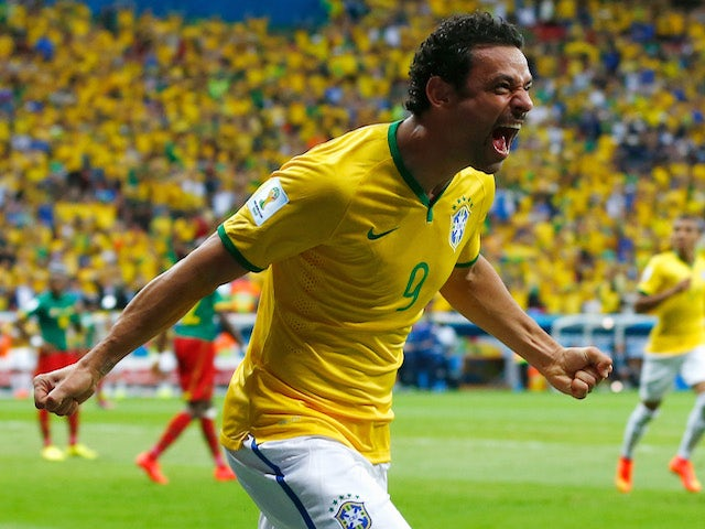 Fred of Brazil celebrates scoring his team's third goal during the 2014 FIFA World Cup Brazil Group A match between Cameroon and Brazil at Estadio Nacional on June 23, 2014