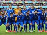 Greece pose for a team photo prior to the 2014 FIFA World Cup Brazil Round of 16 match between Costa Rica and Greece at Arena Pernambuco on June 29, 2014