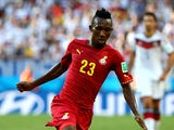 Harrison Afful of Ghana controls the ball during the 2014 FIFA World Cup Brazil Group G match between Germany and Ghana at Castelao on June 21, 2014