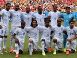 Honduras' squad pose for a group picture before the start of the Group E football match between Honduras and Switzerland at the Amazonia Arena in Manaus during the 2014 FIFA World Cup on June 25, 2014