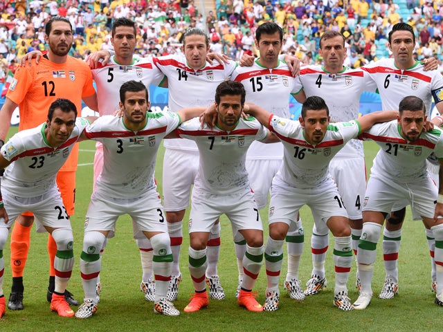 Players from Iran pose for a team photo prior to the 2014 FIFA World Cup Brazil Group F match between Bosnia and Herzegovina and Iran at Arena Fonte Nova on June 25, 2014